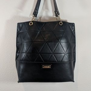 Large Black Bebe faux leather tote bag